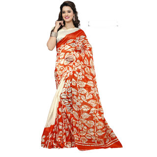 9d53feef3e8 Buy Meia Red and white Bhagalpuri Silk Printed Saree With Blouse ...