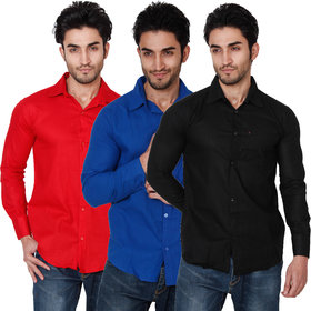 Balino London Men's  Slim Fit Casual Poly-Cotton Shirts Pack of 3