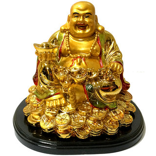 only4you Feng Shui Wealth Laughing Buddha Sitting on Coins with Ingot  (Polyresin, Gold)