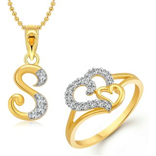 Vighnaharta Couple Heart  Ring with Initial Letter ''S'' Pendant Gold and Rhodium Plated Jewellery Combo set