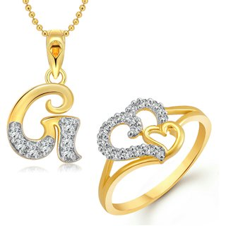 vighnaharta couple heart ring with initial letter g pendant gold and rhodium plated jewellery combo set