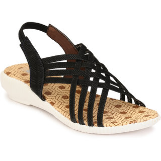 Trilokani Black Casual Sandal For kids