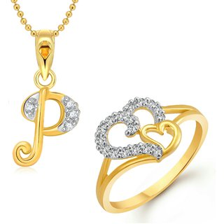 Vighnaharta Couple Heart Ring With Initial Letter P Pendant Gold And Rhodium