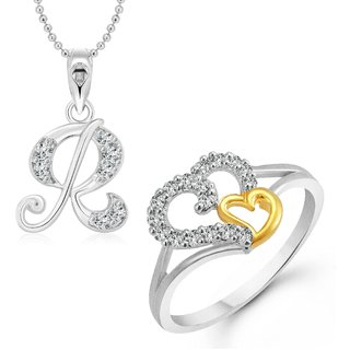 buy vighnaharta white couple heart ring with initial alphabet r