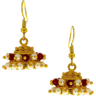 Anuradha Art Golden Finish Red Beads Designer Jhumki/Jhmkas Styled Earrings For Women/Girls