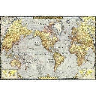 MYIMAGE World Map Poster (Canvas Cloth Print, 31 cm x 46 cm)