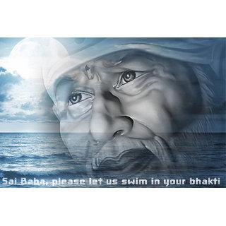 MYIMAGE Canvas Cloth Poster Sai baba (31cm x 46cm x 31cm, Red)