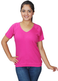 Mask Lifestyle women cotton casual slim fit pink designer top