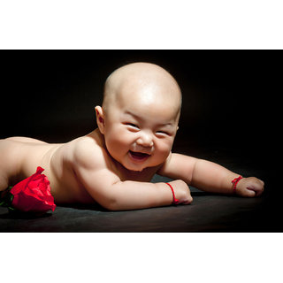 MYIMAGE Cute Baby smiling Poster (Canvas Cloth Print, 31cm x 46 cm)