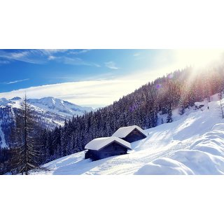 Snow On Mountain Poster (Canvas Cloth Print, 12 x18 inch)