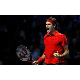 MYIMAGE Roger Federer Celebrating Win Poster (Canvas Cloth Print, 31cm x 46 cm)