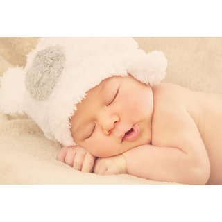 MYIMAGE Cute Baby sleeping with cap poster (Canvas Cloth Print, 12 x18 inch)