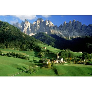 MYIMAGE Natural Scene of Mountains with green park Poster (Canvas Cloth Print, 31cm x 46 cm)