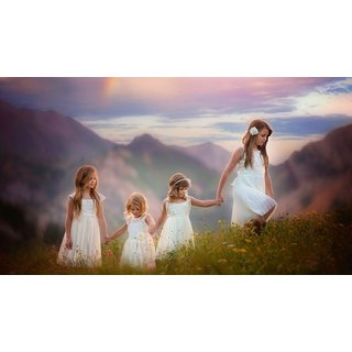 MYIMAGE Cute Baby Four  Angels Poster (Canvas Cloth Print, 31 cm x 46 cm)