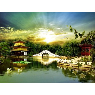 MYIMAGE Natural Scene of Lake  Poster (Canvas Cloth Print, 31cm x 46 cm)