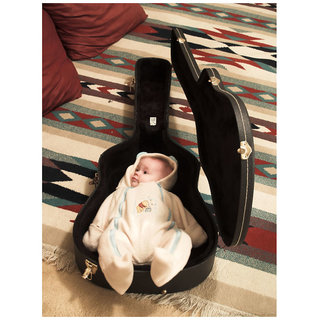 MYIMAGE MYIMAGE Cute Baby with Guitar Poster (Canvas Cloth Print, 31 cm x 46 cm)
