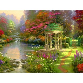 MYIMAGE Natural Scene of Beautiful Garden Poster (Canvas Cloth Print, 31cm x 46 cm)