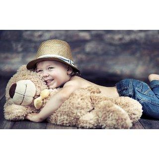 MYIMAGE Cute Baby Boy with teddy Poster (Canvas Cloth Print, 31cm x 46 cm)