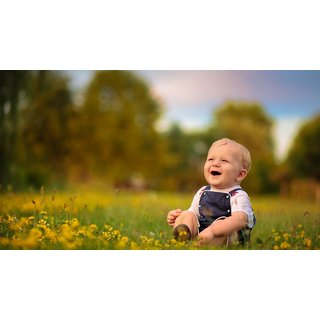 MYIMAGE Cute baby smile in garden Poster (Canvas Cloth Print, 31cm x 46cm)