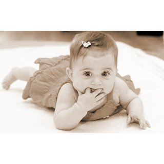 MYIMAGE Cute baby fingers in mouth Poster (Canvas Cloth Print, 31cm x 46cm)
