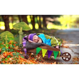 MYIMAGE Cute Baby sleeping in garden Poster (Canvas Cloth Print, 31cm x 46 cm)