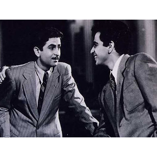 MYIMAGE Bollywood Legend Star Raj Kapoor and Dalip Kumar Poster (Canvas Cloth Print, 31cm x 46 cm)