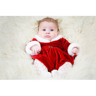 MYIMAGE MYIMAGE Cute Baby in Red frok  Poster  Poster (Canvas Cloth Print, 12 x18 inch)