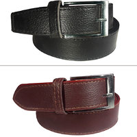 Jack Klein Combo of 2 Black  Brown Leatherite Pin Buckle Belt For Men