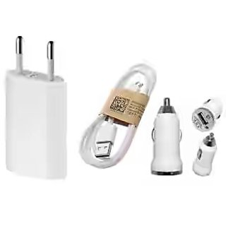 3 in 1 combo of charger (Wall charger + car charger + Micro usb data cable