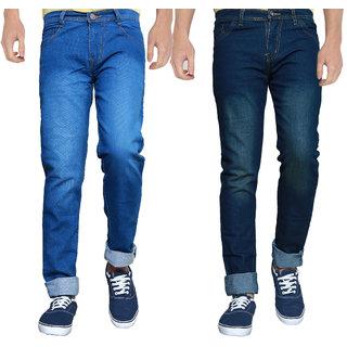 Spain Stylees Men's Multicolor Slim Fit Jeans (Pack of 2)