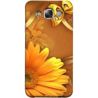 FUSON Designer Back Case Cover for Samsung Galaxy E7 (2015) :: Samsung Galaxy E7 Duos :: Samsung Galaxy E7 E7000 E7009 E700F E700F/Ds E700H E700H/Dd E700H/Ds E700M E700M/Ds  (Butterfly Bright Beautiful Colorful Yellow Splendo Trees )