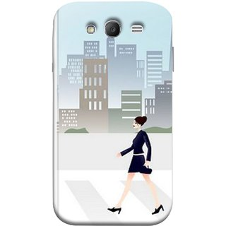 FUSON Designer Back Case Cover for Samsung Galaxy Grand I9082 :: Samsung Galaxy Grand Z I9082Z :: Samsung Galaxy Grand Duos I9080 I9082 (Morden Girl Building Blue Outfit Purse Zebra Cross)