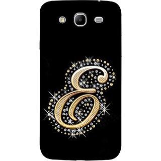FUSON Designer Back Case Cover for Samsung Galaxy Mega 5.8 I9150 :: Samsung Galaxy Mega Duos 5.8 I9152 (Gold Framed Alphabet Letter E Filled With Diamonds)
