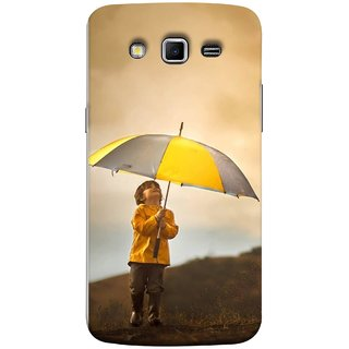 FUSON Designer Back Case Cover for Samsung Galaxy Grand 2 :: Samsung Galaxy Grand 2 G7105 :: Samsung Galaxy Grand 2 G7102 :: Samsung  Galaxy Grand Ii (Adorable Little Boy Holding Toy Friend And Umbrella)