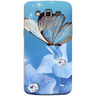 FUSON Designer Back Case Cover for Samsung Galaxy Grand 2 :: Samsung Galaxy Grand 2 G7105 :: Samsung Galaxy Grand 2 G7102 :: Samsung  Galaxy Grand Ii (In Center Glitter Diamonds Flowers Butterfly Nature)
