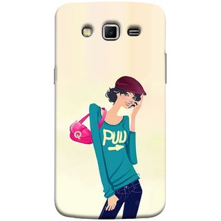 FUSON Designer Back Case Cover for Samsung Galaxy Grand 2 :: Samsung Galaxy Grand 2 G7105 :: Samsung Galaxy Grand 2 G7102 :: Samsung  Galaxy Grand Ii (Morden Lady Tshirt Jeans Cap Beautiful Girly)