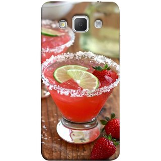 FUSON Designer Back Case Cover for Samsung Galaxy Grand Max G720 (Wine Glass Lemon Slices Farm Fresh Strawberry )