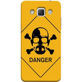FUSON Designer Back Case Cover for Samsung Galaxy Grand Max G720 (Yellow Background  Bones Danger Triangular Sign )