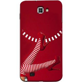 FUSON Designer Back Case Cover for Samsung Galaxy Note N7000 :: Samsung Galaxy Note I9220 :: Samsung Galaxy Note 1 :: Samsung Galaxy Note Gt-N7000 (High Heel Red And White Socks Beautiful Legs Girl)