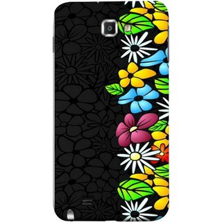 FUSON Designer Back Case Cover for Samsung Galaxy Note N7000 :: Samsung Galaxy Note I9220 :: Samsung Galaxy Note 1 :: Samsung Galaxy Note Gt-N7000 (Multicolour Flowers Phul Gray Geen Leaves Beautiful)