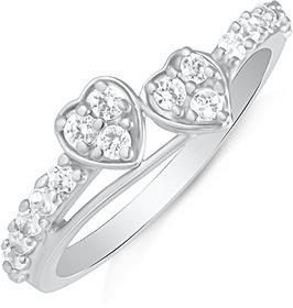Mahi Rhodium Plated Promise Ring For Women FR1100624R
