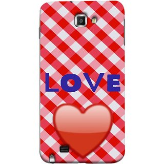 FUSON Designer Back Case Cover for Samsung Galaxy Note N7000 :: Samsung Galaxy Note I9220 :: Samsung Galaxy Note 1 :: Samsung Galaxy Note Gt-N7000 (Red Shiny Heart Against Red And White Checkered)