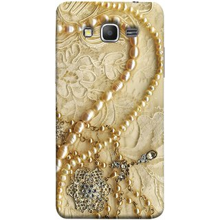 FUSON Designer Back Case Cover for Samsung Galaxy Grand Prime :: Samsung Galaxy Grand Prime Duos :: Samsung Galaxy Grand Prime G530F G530Fz G530Y G530H G530Fz/Ds (Perals Diamonds Pendent Gold Hand Embroidery Stitches)