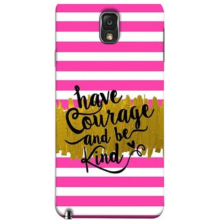 FUSON Designer Back Case Cover for Samsung Galaxy Note 3 :: Samsung Galaxy Note Iii :: Samsung Galaxy Note 3 N9002 :: Samsung Galaxy Note 3 N9000 N9005 (Pink And White Horizontal Strips Gold Paint Black Font)