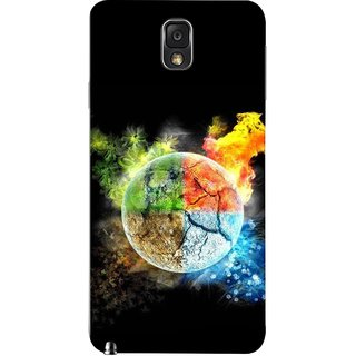 FUSON Designer Back Case Cover for Samsung Galaxy Note 3 :: Samsung Galaxy Note Iii :: Samsung Galaxy Note 3 N9002 :: Samsung Galaxy Note 3 N9000 N9005 (Greenery Whole Circle Earth Cracks Blue Ice)