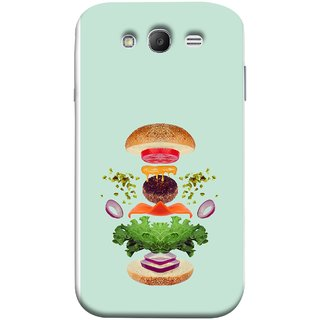 FUSON Designer Back Case Cover for Samsung Galaxy Grand Neo Plus I9060I :: Samsung Galaxy Grand Neo+ (Flying Burger Ingredients Onion Cheese Tomatos )