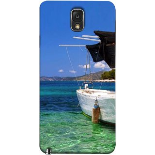 FUSON Designer Back Case Cover for Samsung Galaxy Note 3 :: Samsung Galaxy Note Iii :: Samsung Galaxy Note 3 N9002 :: Samsung Galaxy Note 3 N9000 N9005 (Boat Floating In The Clear Water Island Enjoy Holidays)