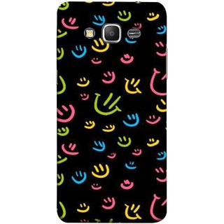 FUSON Designer Back Case Cover for Samsung Galaxy Grand Prime :: Samsung Galaxy Grand Prime Duos :: Samsung Galaxy Grand Prime G530F G530Fz G530Y G530H G530Fz/Ds (Pink Yellow Blue And Green Smiley  On A Black )