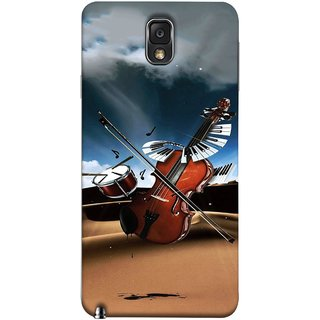 FUSON Designer Back Case Cover for Samsung Galaxy Note 3 :: Samsung Galaxy Note Iii :: Samsung Galaxy Note 3 N9002 :: Samsung Galaxy Note 3 N9000 N9005 (Musical Instrument Vintage Bass Music Lovers Play)