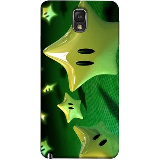 FUSON Designer Back Case Cover for Samsung Galaxy Note 3 :: Samsung Galaxy Note Iii :: Samsung Galaxy Note 3 N9002 :: Samsung Galaxy Note 3 N9000 N9005 (Shy Many Gold Star Cartoon Emoji Emotions In Air )